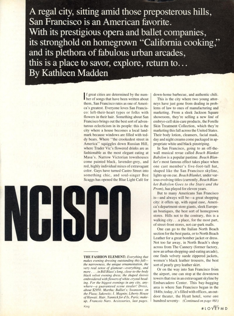 Vogue Special Report--Seven American Cities, their New Style, Excitement, Pleasures Pt.1, October 1984