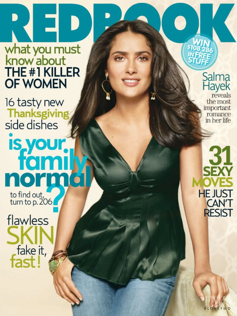 Salma Hayek featured on the Redbook cover from November 2006