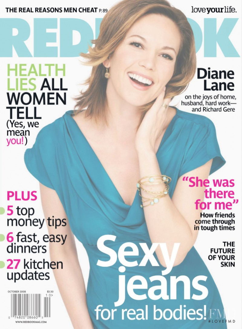 Diane Lane featured on the Redbook cover from October 2008
