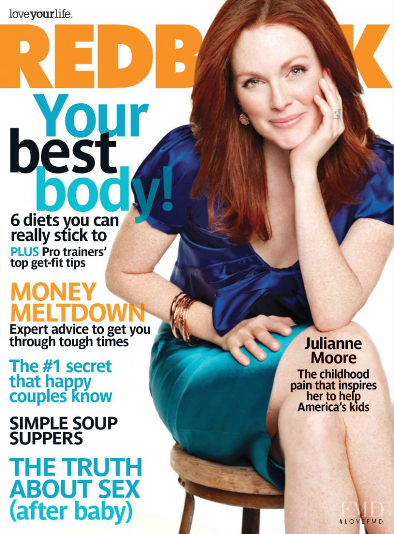 Julianne Moore featured on the Redbook cover from February 2009