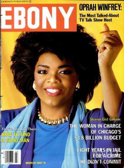 Oprah Winfrey featured on the Ebony cover from March 1987