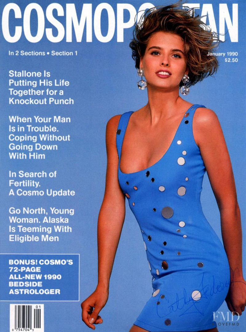Cathy Fedoruk featured on the Cosmopolitan USA cover from January 1990