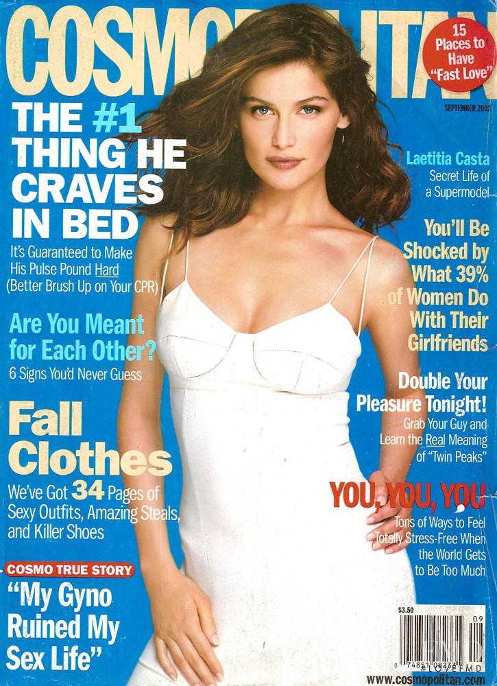 Laetitia Casta featured on the Cosmopolitan USA cover from September 2002
