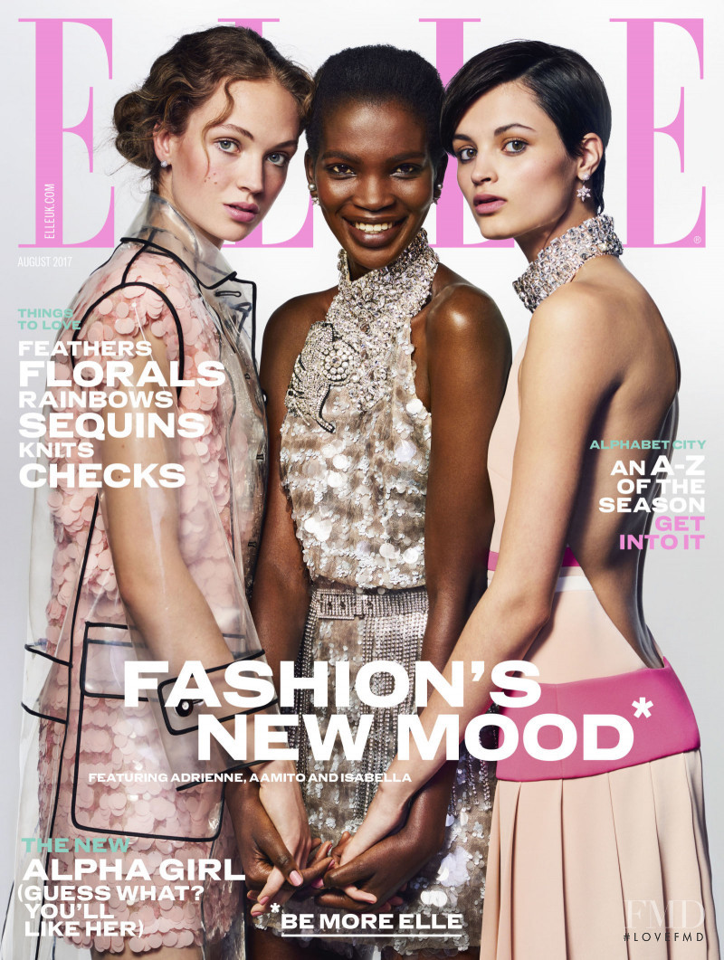 Adrienne Juliger, Aamito Stacie Lagum, Isabella Emmack featured on the Elle UK cover from August 2017