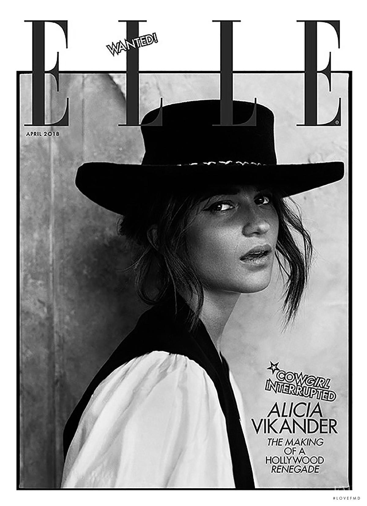 Алисия Викандер в фотосессии Elle UK (апрель 2018) - вторая черно-белая обложка