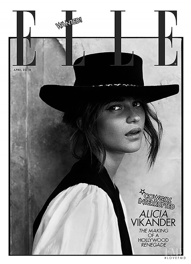 Alicia Vikander featured on the Elle UK cover from April 2018