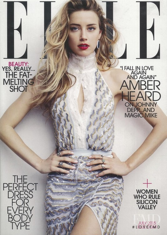 Amber Heard featured on the Elle USA cover from July 2015