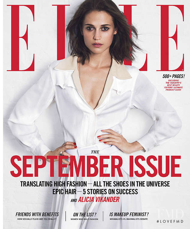 Alicia Vikander featured on the Elle USA cover from September 2017