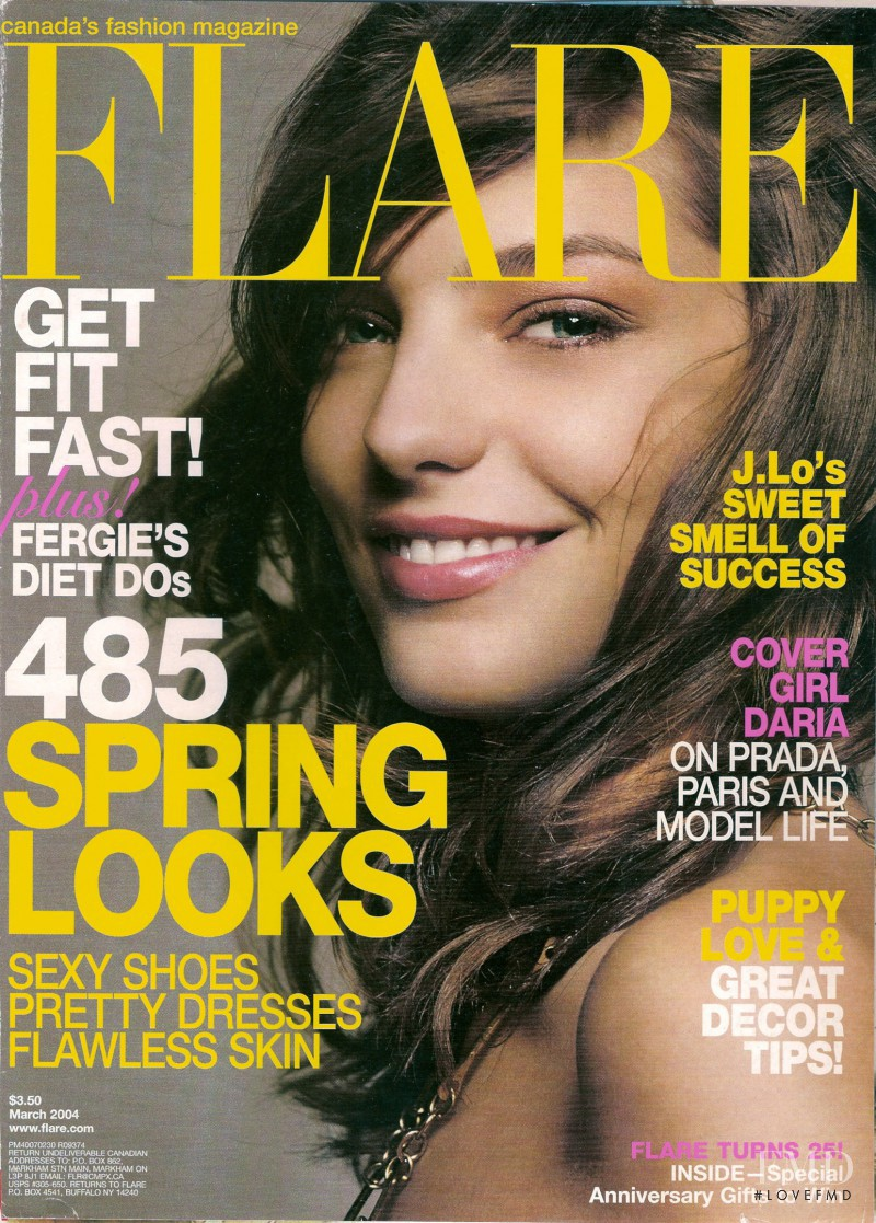 Daria Werbowy featured on the Flare Canada cover from March 2004