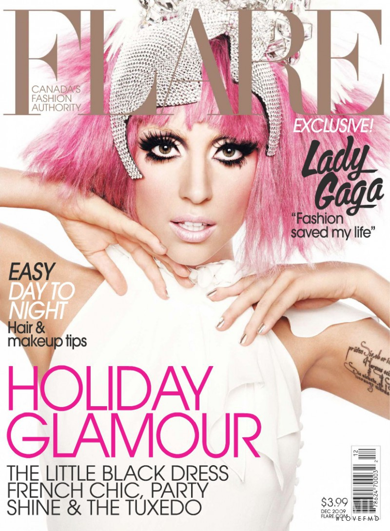 Lady Gaga featured on the Flare Canada cover from December 2009