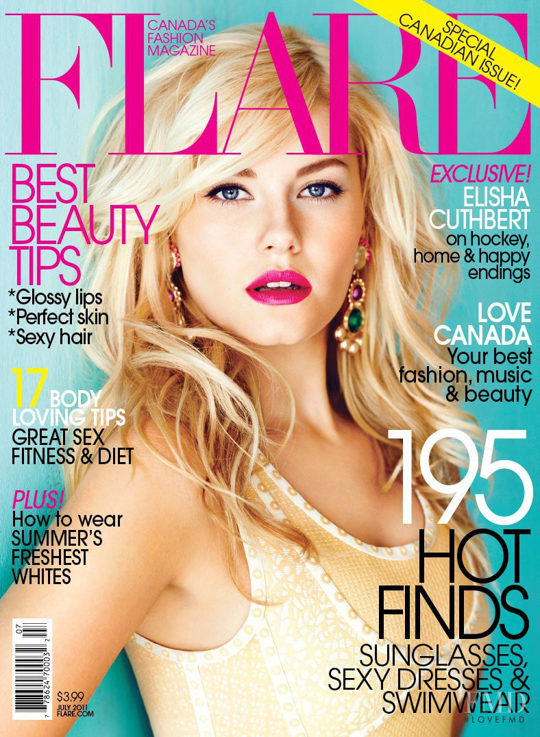 Elisha Cuthbert featured on the Flare Canada cover from July 2011