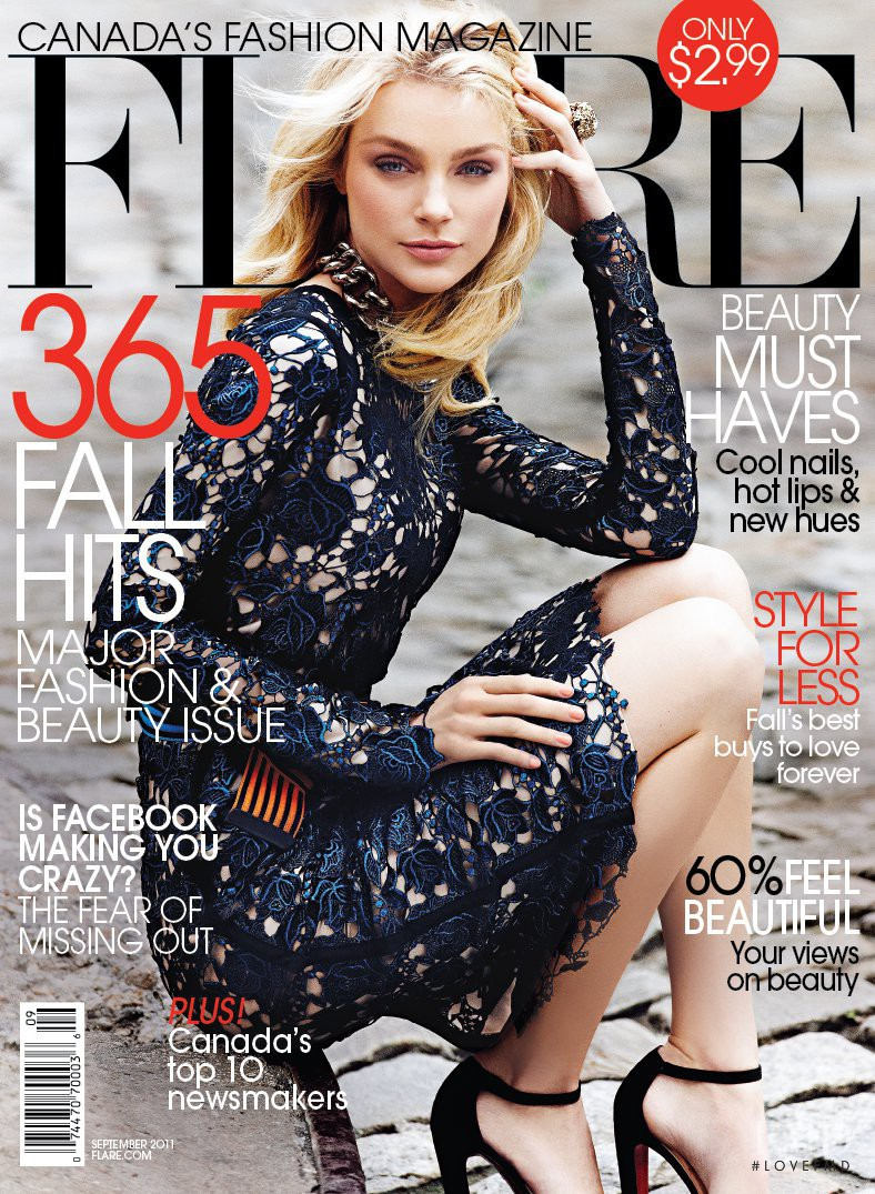 Jessica Stam featured on the Flare Canada cover from September 2011