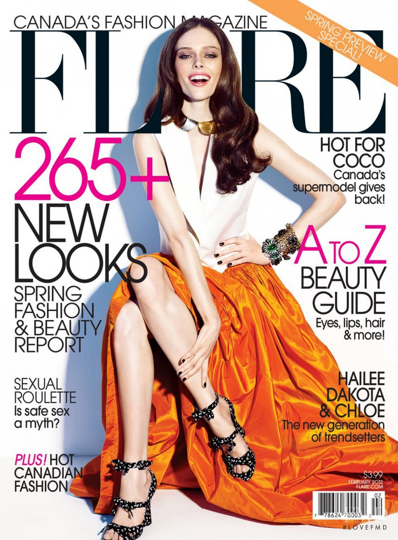 Coco Rocha featured on the Flare Canada cover from February 2012
