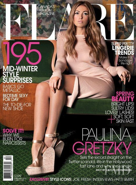 Paulina Gretzky featured on the Flare Canada cover from February 2013