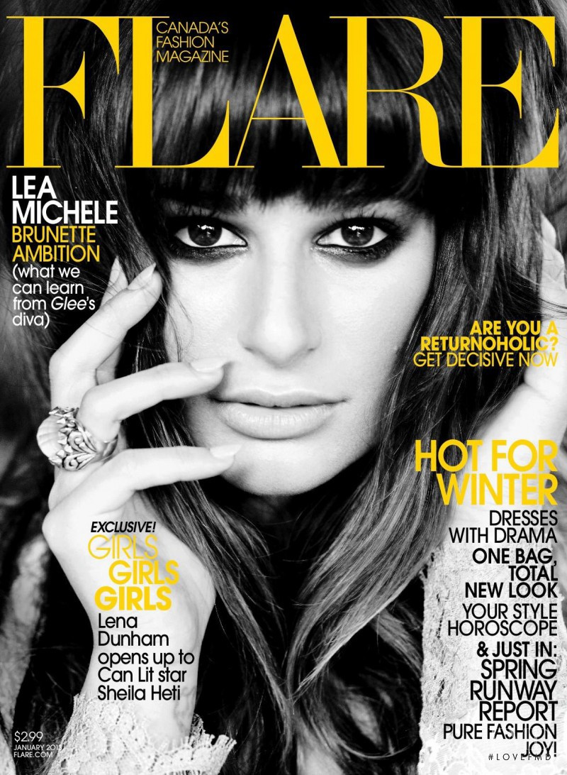 Lea Michele featured on the Flare Canada cover from January 2013