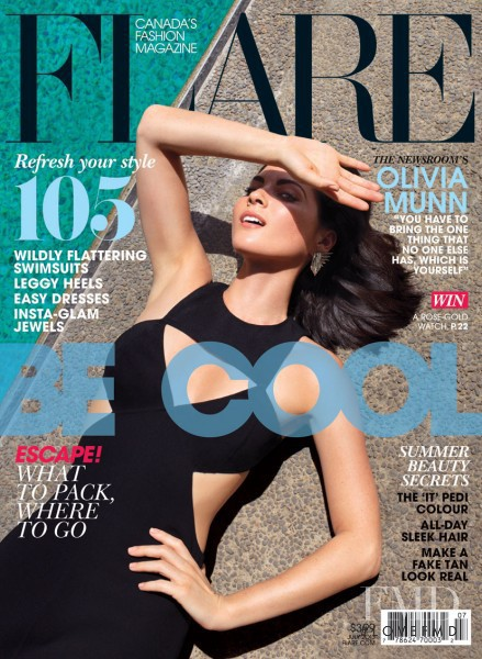 Olivia Munn featured on the Flare Canada cover from July 2013