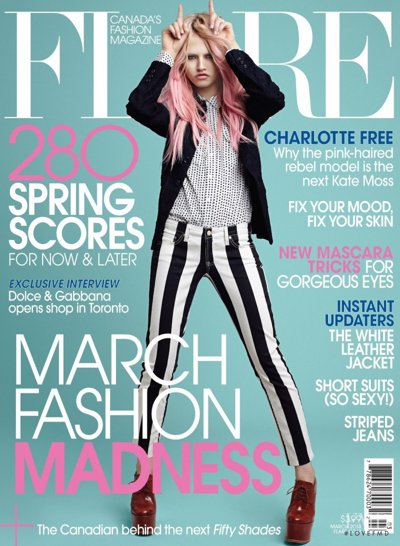 Charlotte Free featured on the Flare Canada cover from March 2013