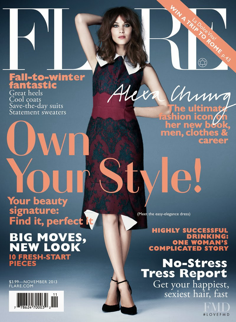 Alexa Chung featured on the Flare Canada cover from November 2013
