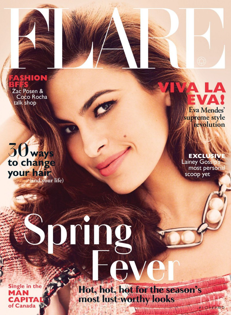 Eva Mendes featured on the Flare Canada cover from May 2014