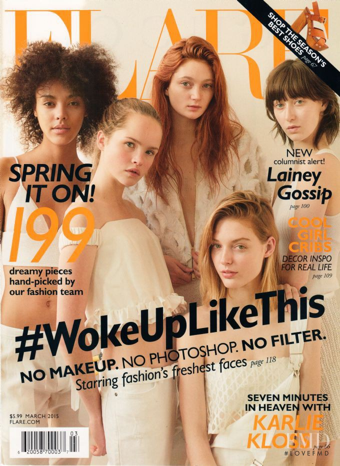 Sophie Touchet, Ashley Foo, Jenna Castilloux, Sasha Hronis, Charlotte Mingay featured on the Flare Canada cover from March 2015