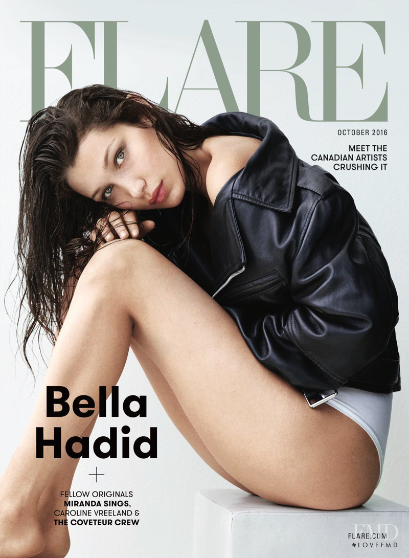 Bella Hadid featured on the Flare Canada cover from October 2016