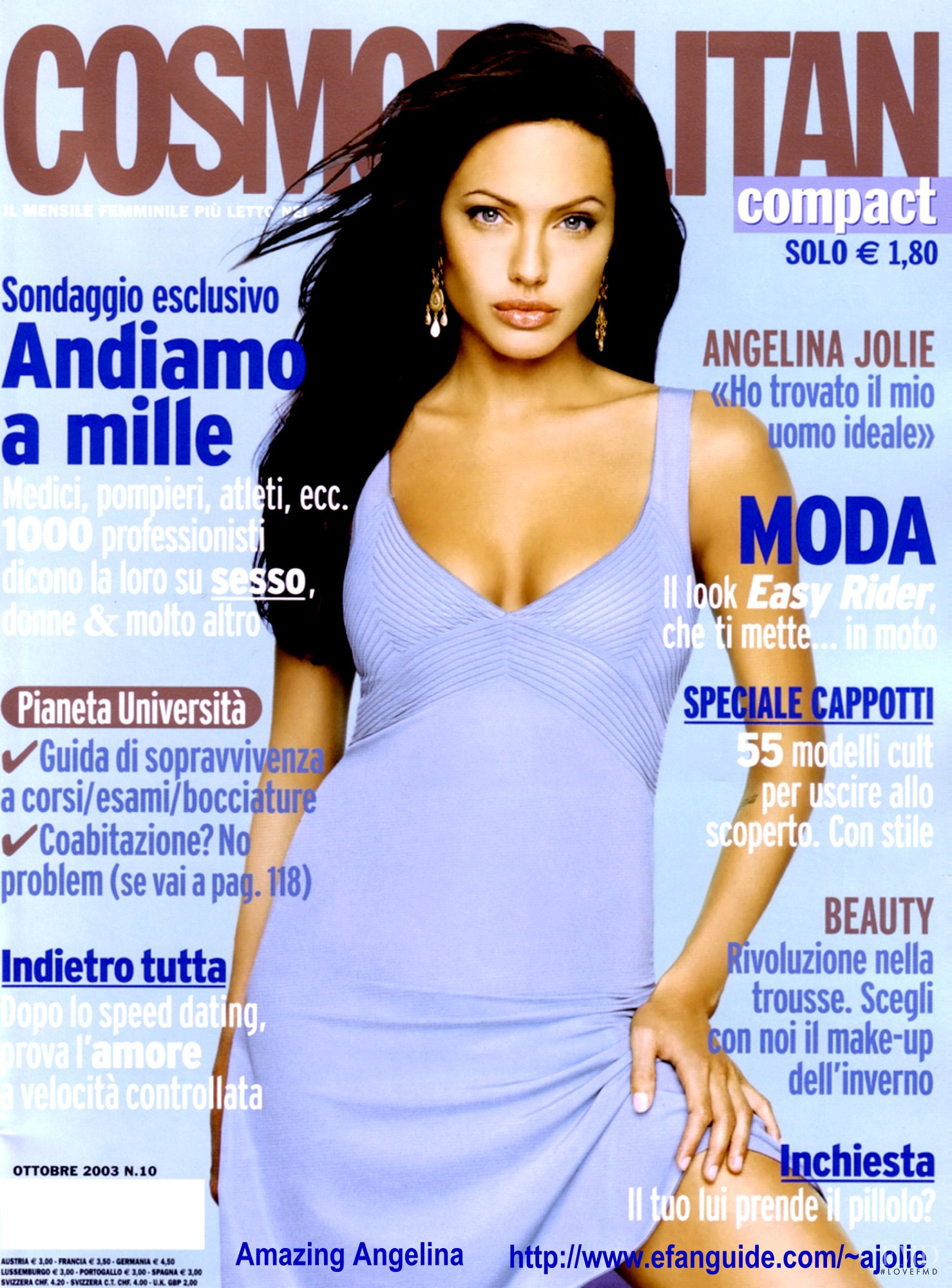 Jolie Magazine November 2017 Issue: Cover Of Cosmopolitan Italy With Angelina Jolie, October
