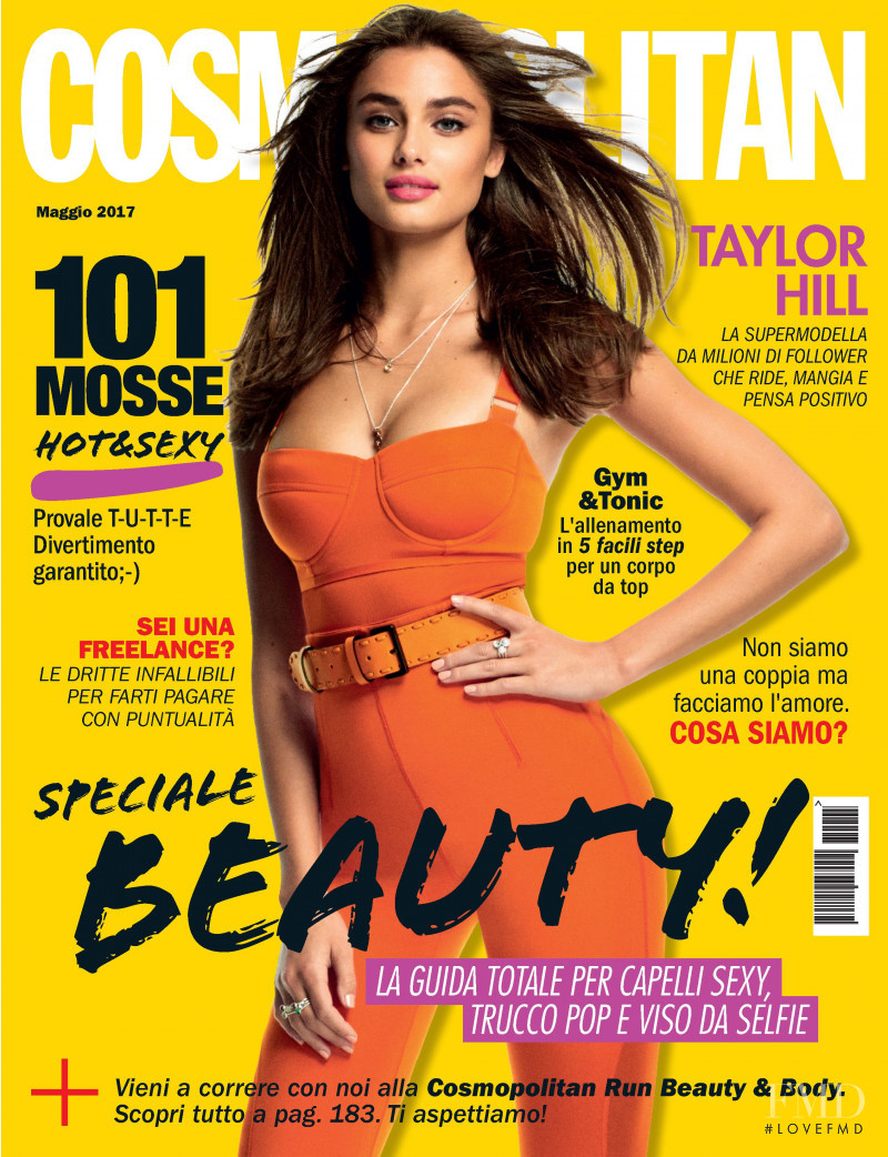 Taylor Hill featured on the Cosmopolitan Italy cover from May 2017