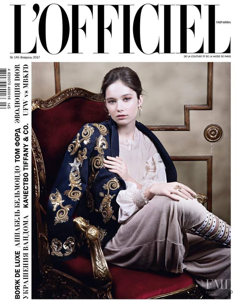 Vika Ihnatenko featured on the L\'Officiel Ukraine cover from February 2017