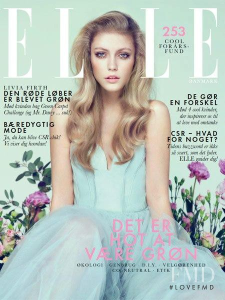 Lucia Jonova featured on the Elle Denmark cover from April 2013