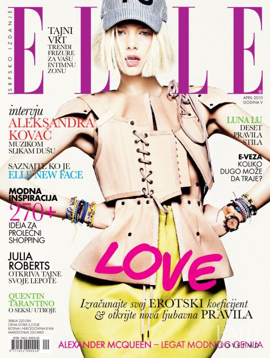 Marloes Horst featured on the Elle Serbia cover from April 2010