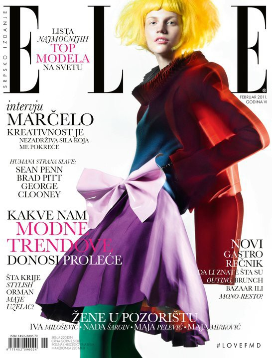 Angelina Bogatyrova featured on the Elle Serbia cover from February 2011