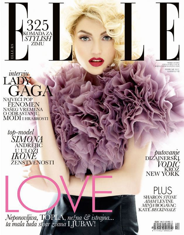 Simona Andrejic featured on the Elle Serbia cover from February 2012