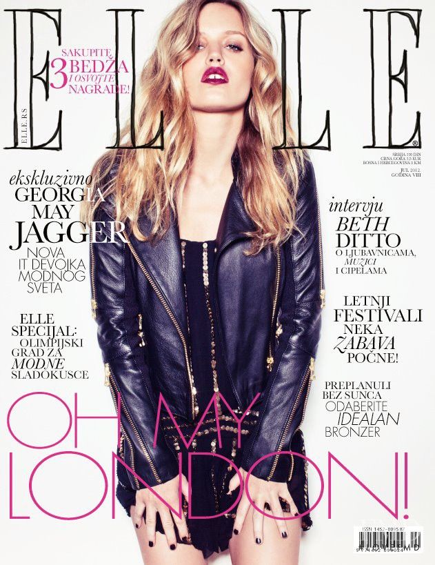 Georgia May Jagger featured on the Elle Serbia cover from July 2012