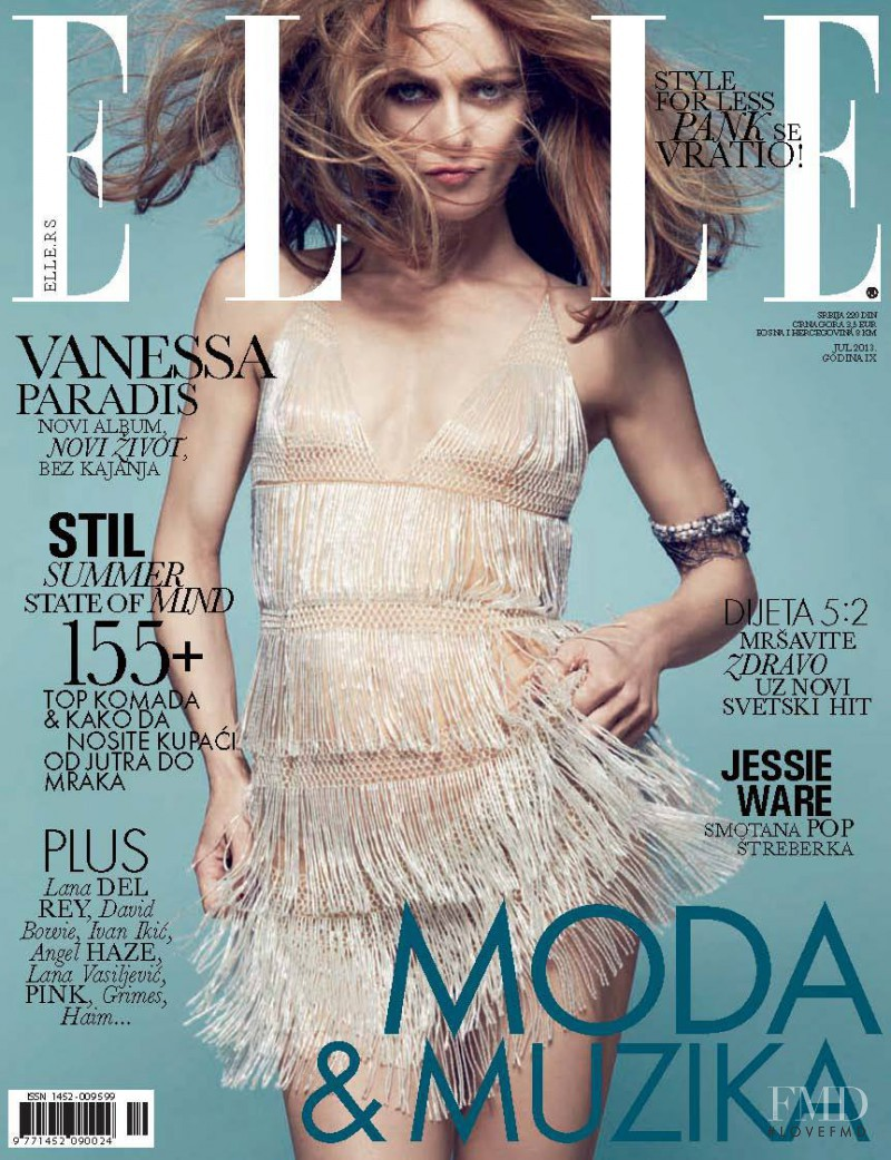 Vanessa Paradis featured on the Elle Serbia cover from July 2013
