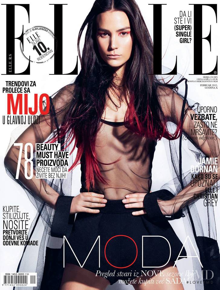 Mijo Mihaljcic featured on the Elle Serbia cover from February 2015