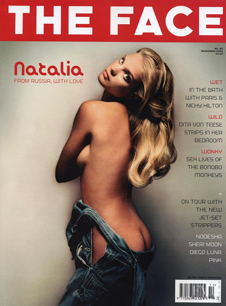 Natalia Vodianova featured on the The Face cover from November 2003