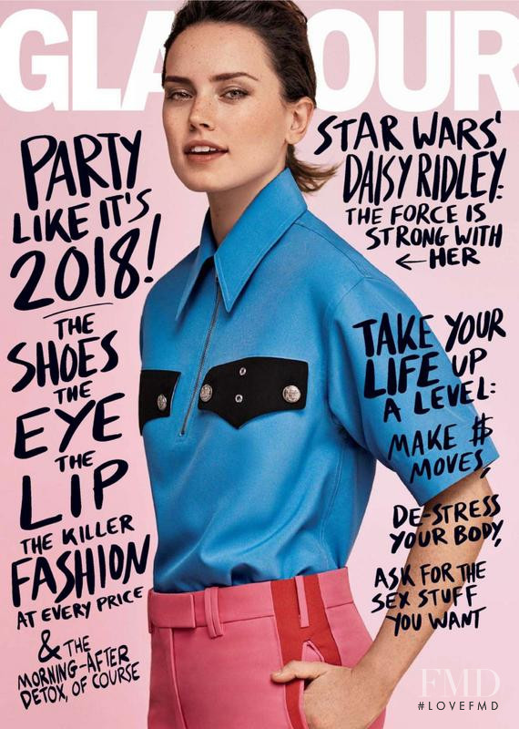 Daisy Ridley featured on the Glamour USA cover from January 2018