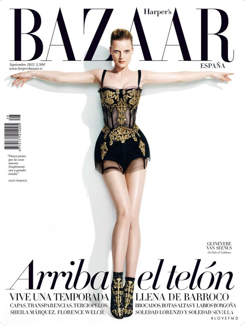 Guinevere van Seenus featured on the Harper\'s Bazaar Spain cover from September 2012