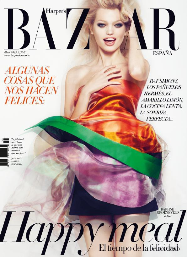 Daphne Groeneveld featured on the Harper\'s Bazaar Spain cover from April 2013