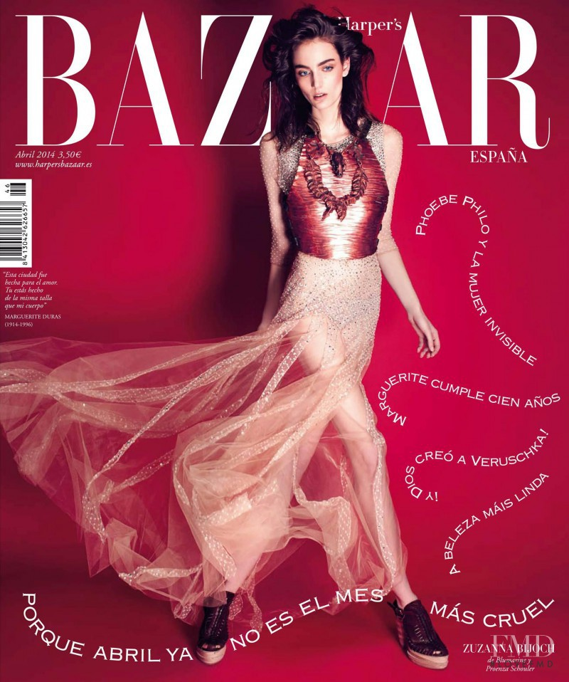 Zuzanna Bijoch featured on the Harper\'s Bazaar Spain cover from April 2014