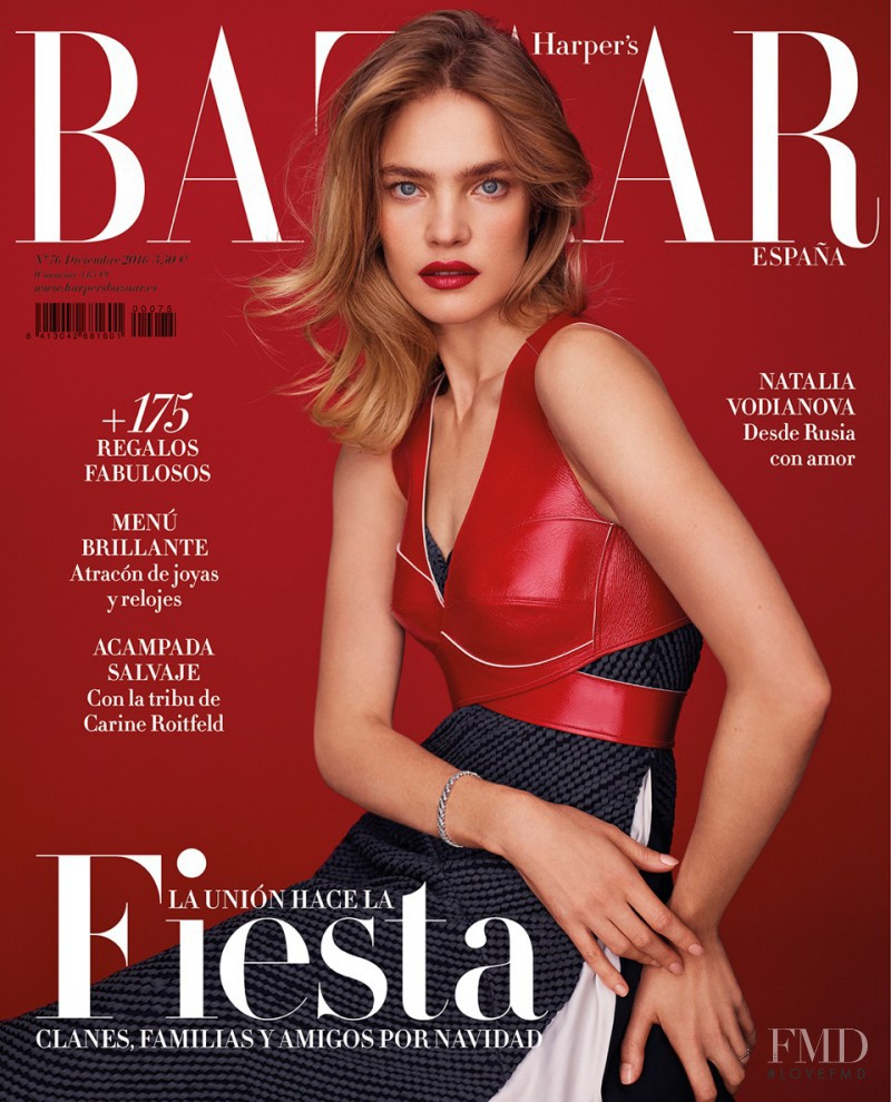 Natalia Vodianova featured on the Harper\'s Bazaar Spain cover from December 2016