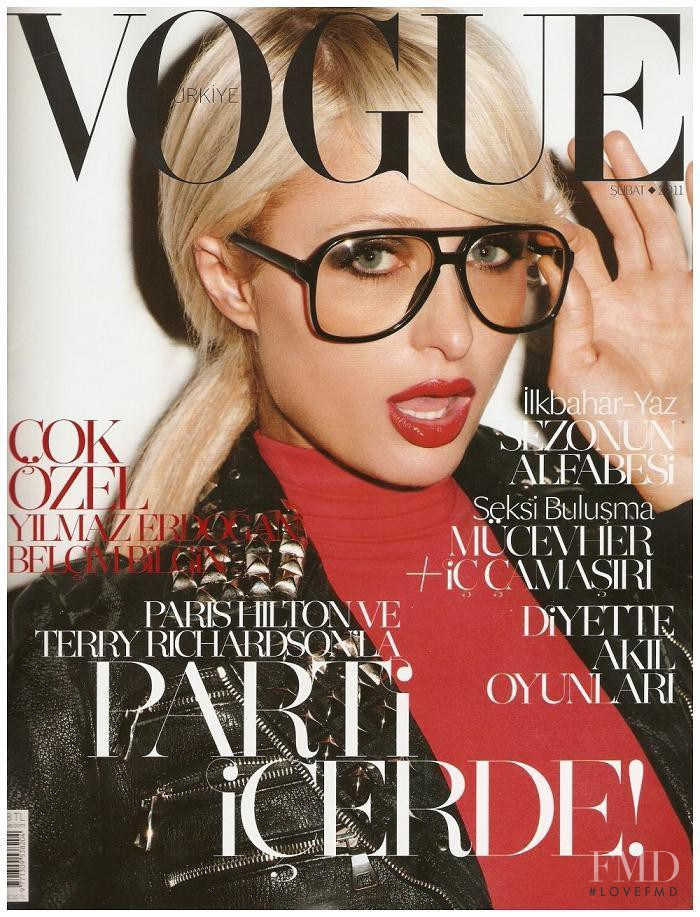 Paris Hilton featured on the Vogue Turkey cover from February 2011