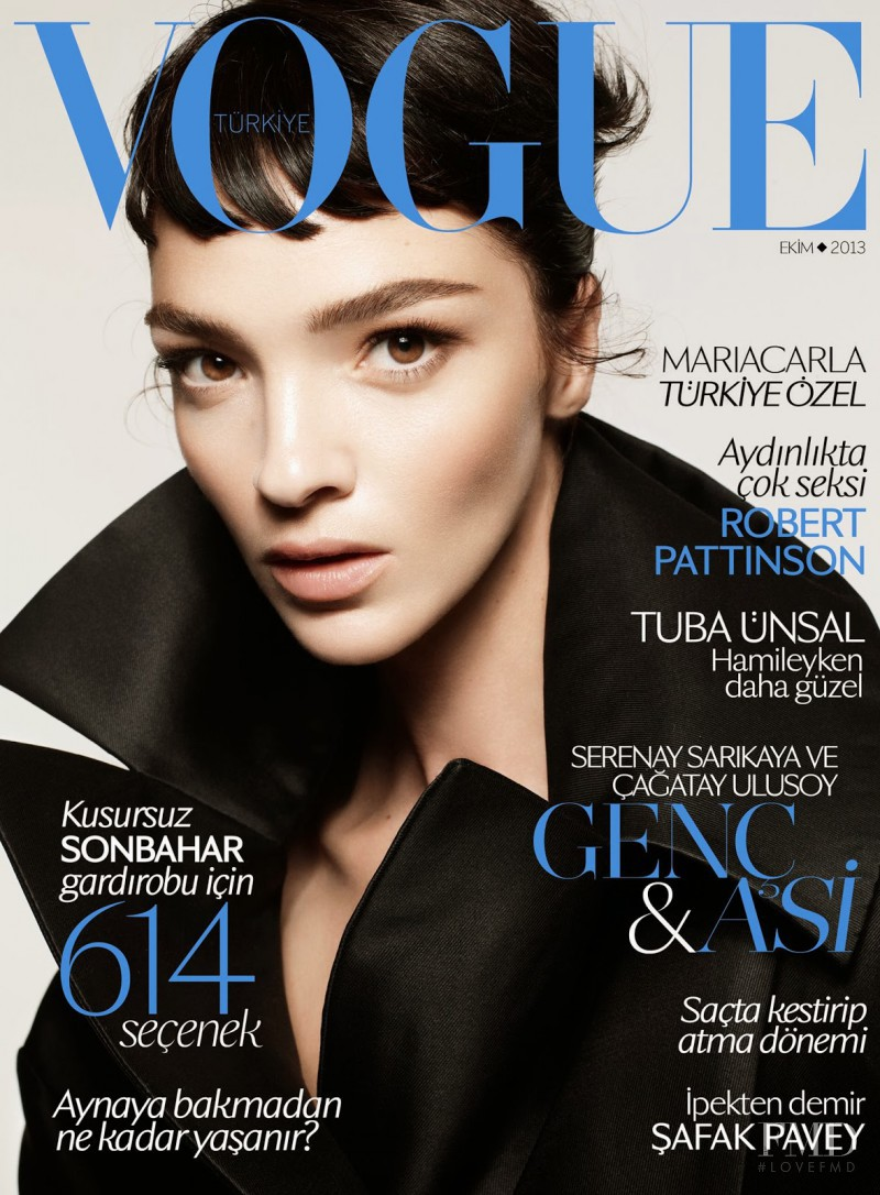 Mariacarla Boscono featured on the Vogue Turkey cover from October 2013