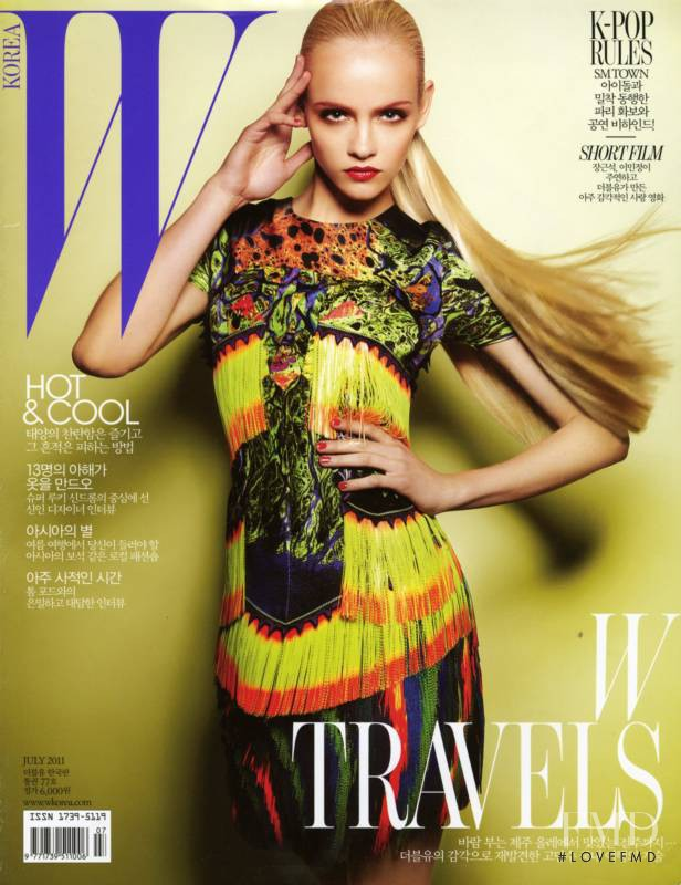 Ginta Lapina featured on the W Korea cover from July 2011