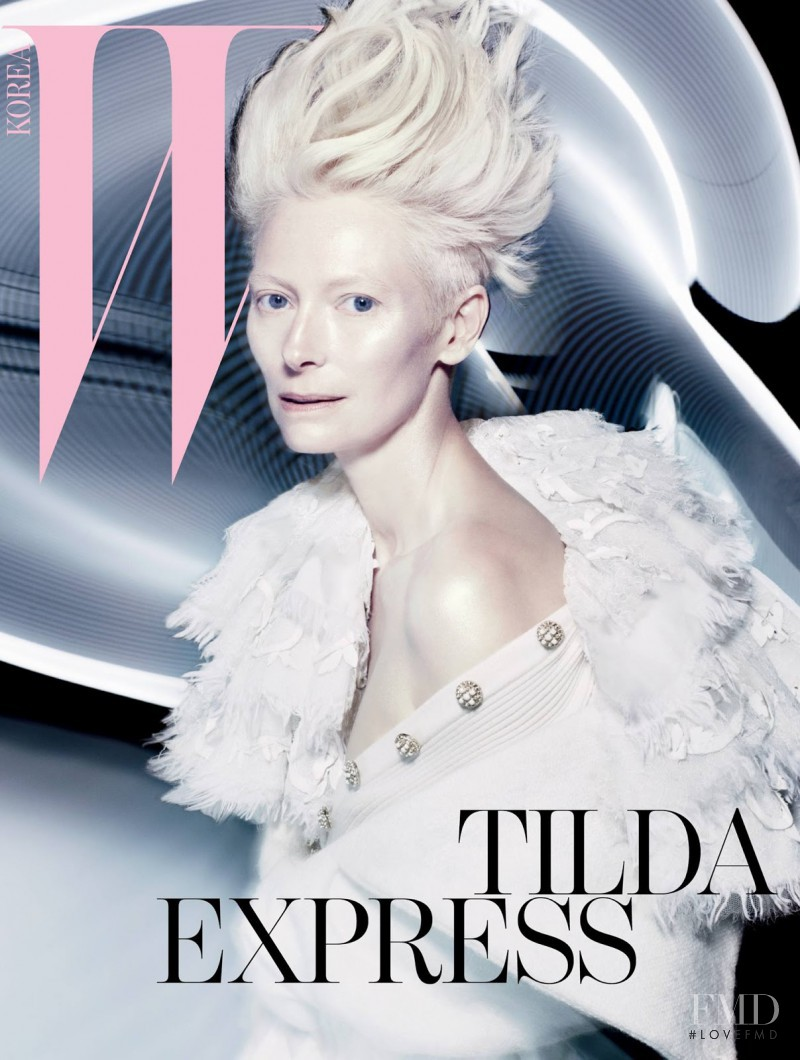Tilda Swinton featured on the W Korea cover from August 2013
