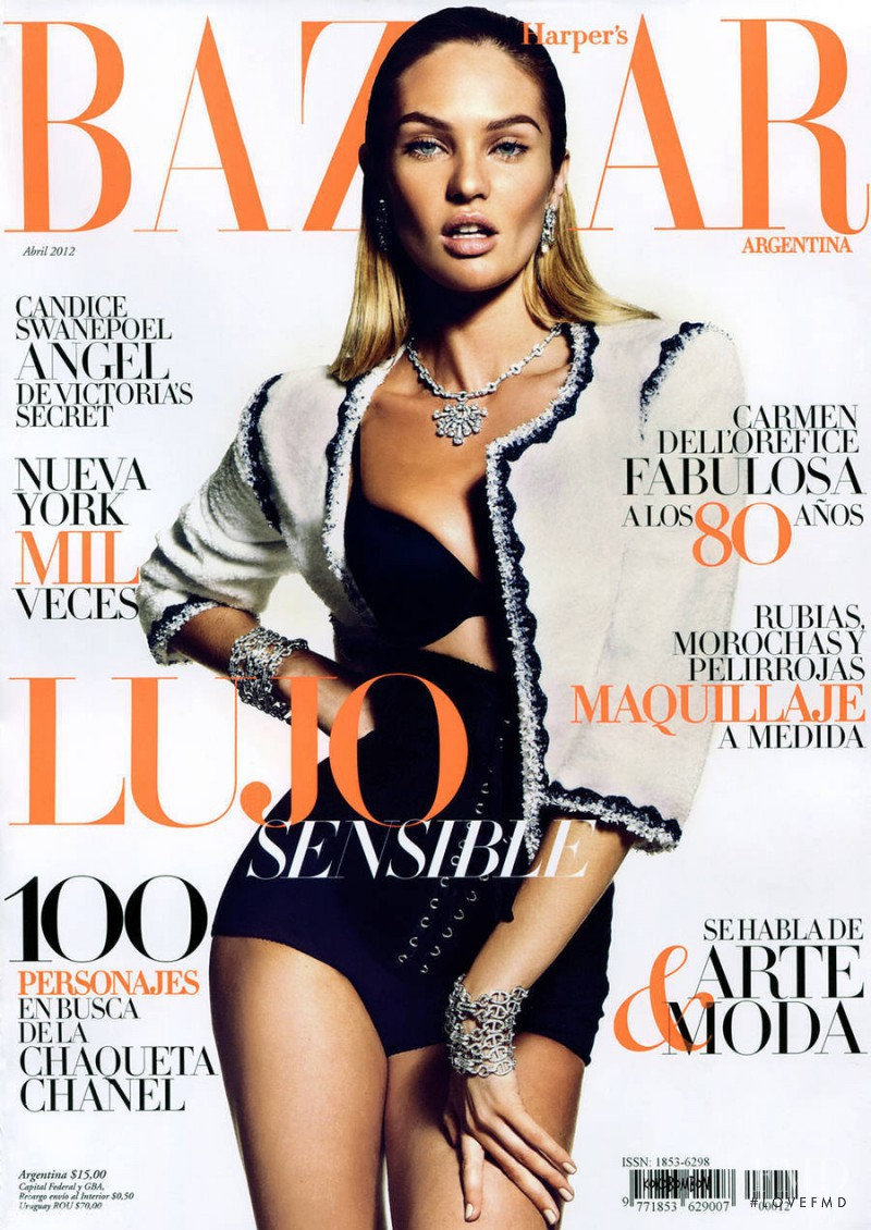 Candice Swanepoel featured on the Harper\'s Bazaar Argentina cover from April 2012
