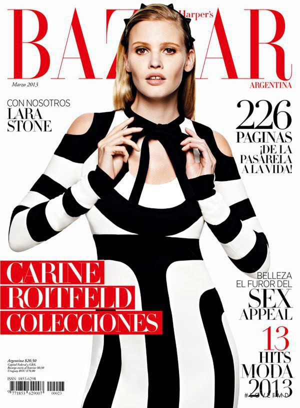 Cover of harper 39 s bazaar argentina with lara stone march for Bazaar argentina