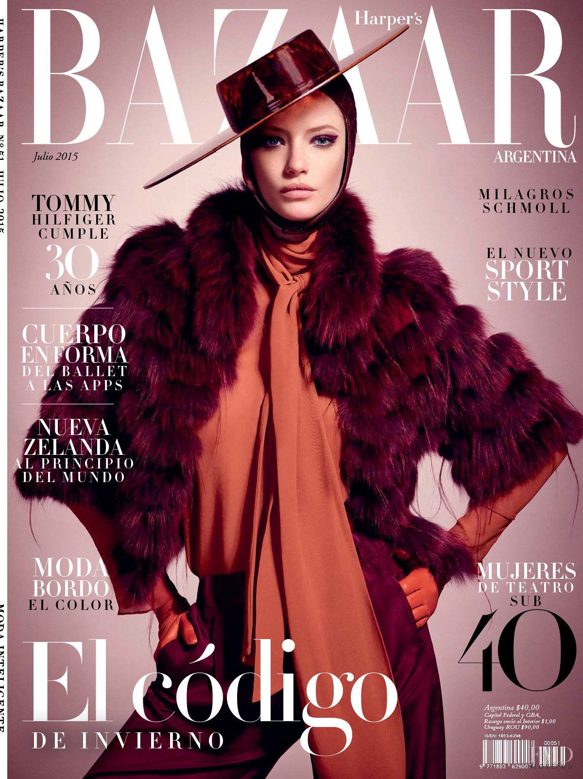 Cover of harper 39 s bazaar argentina with milagros schmoll for Bazaar argentina