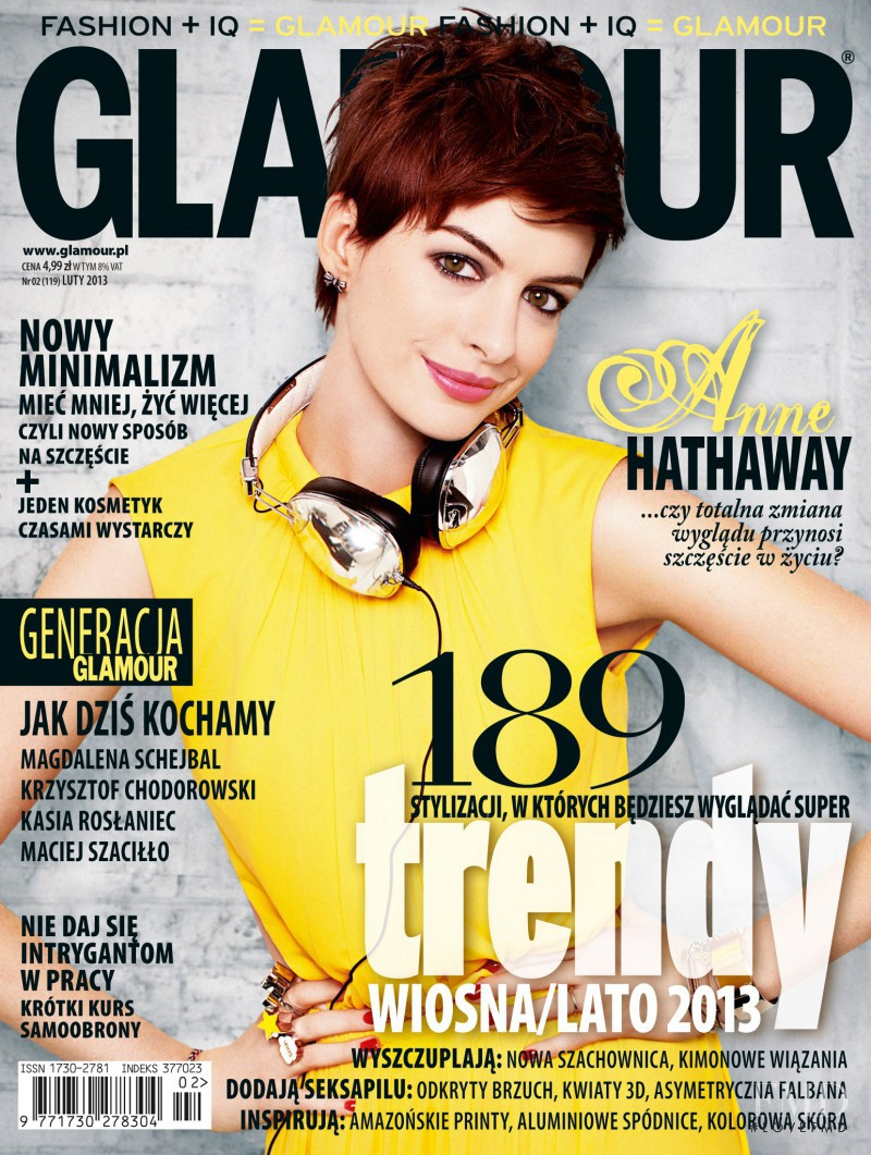 Anne Hathaway featured on the Glamour Poland cover from February 2013