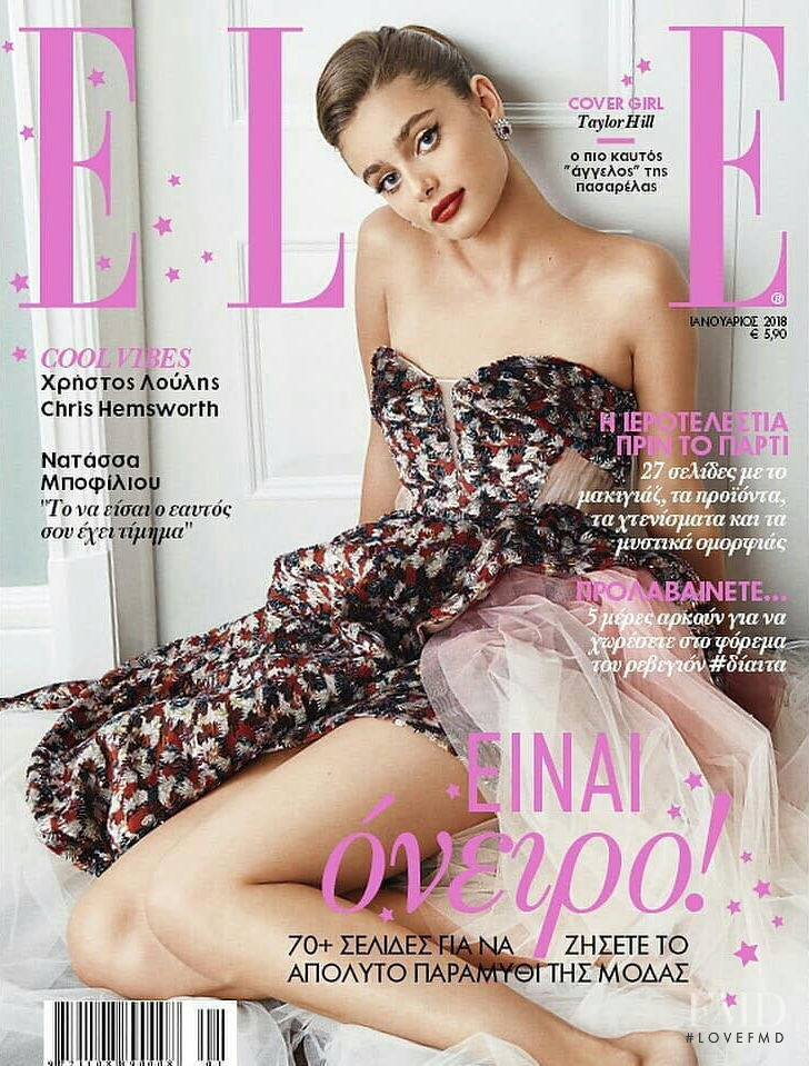 Taylor Hill featured on the Elle Greece cover from January 2018
